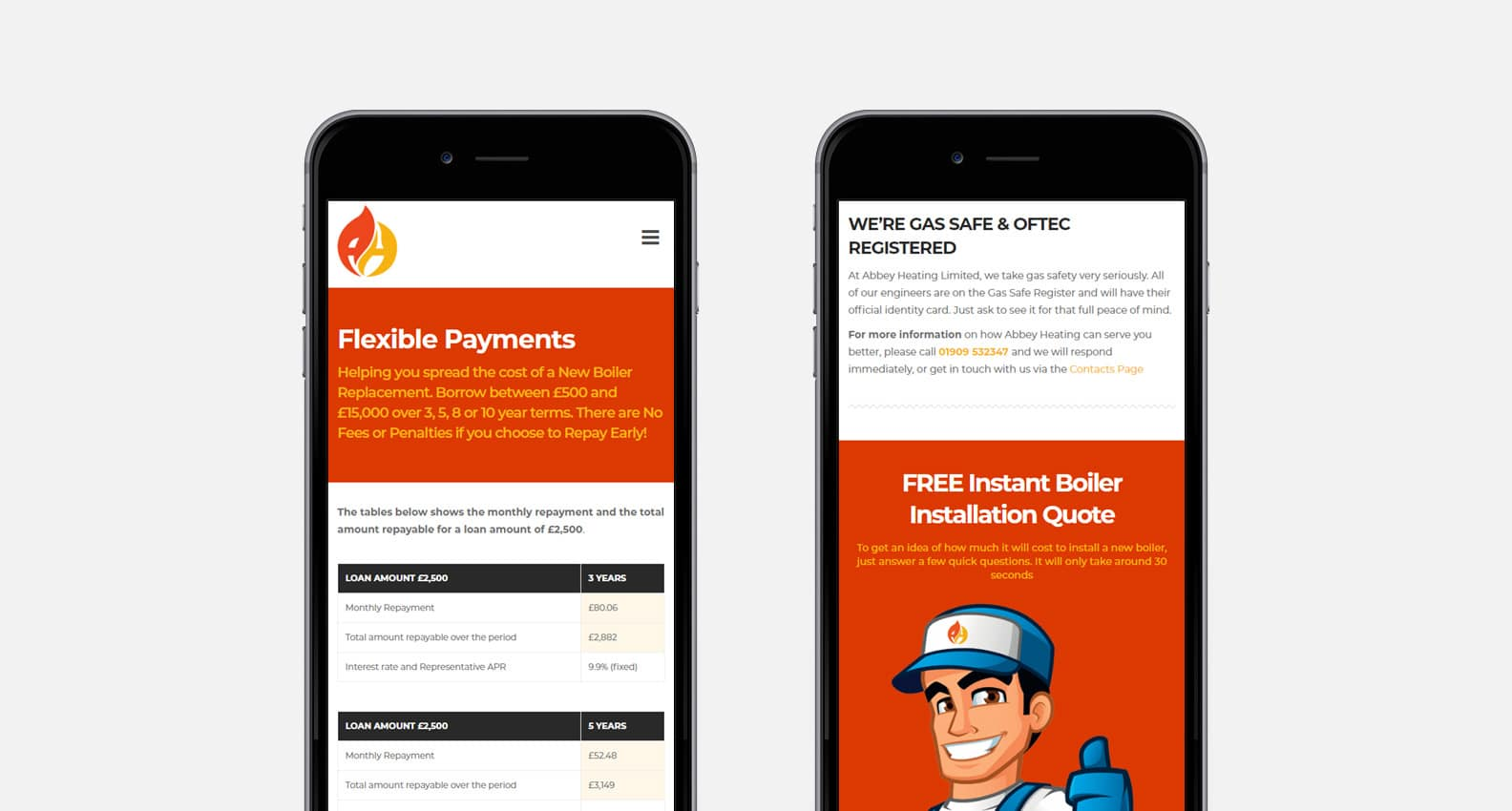 Mobile Responsive Website for Abbey Heating - iPhone Screens