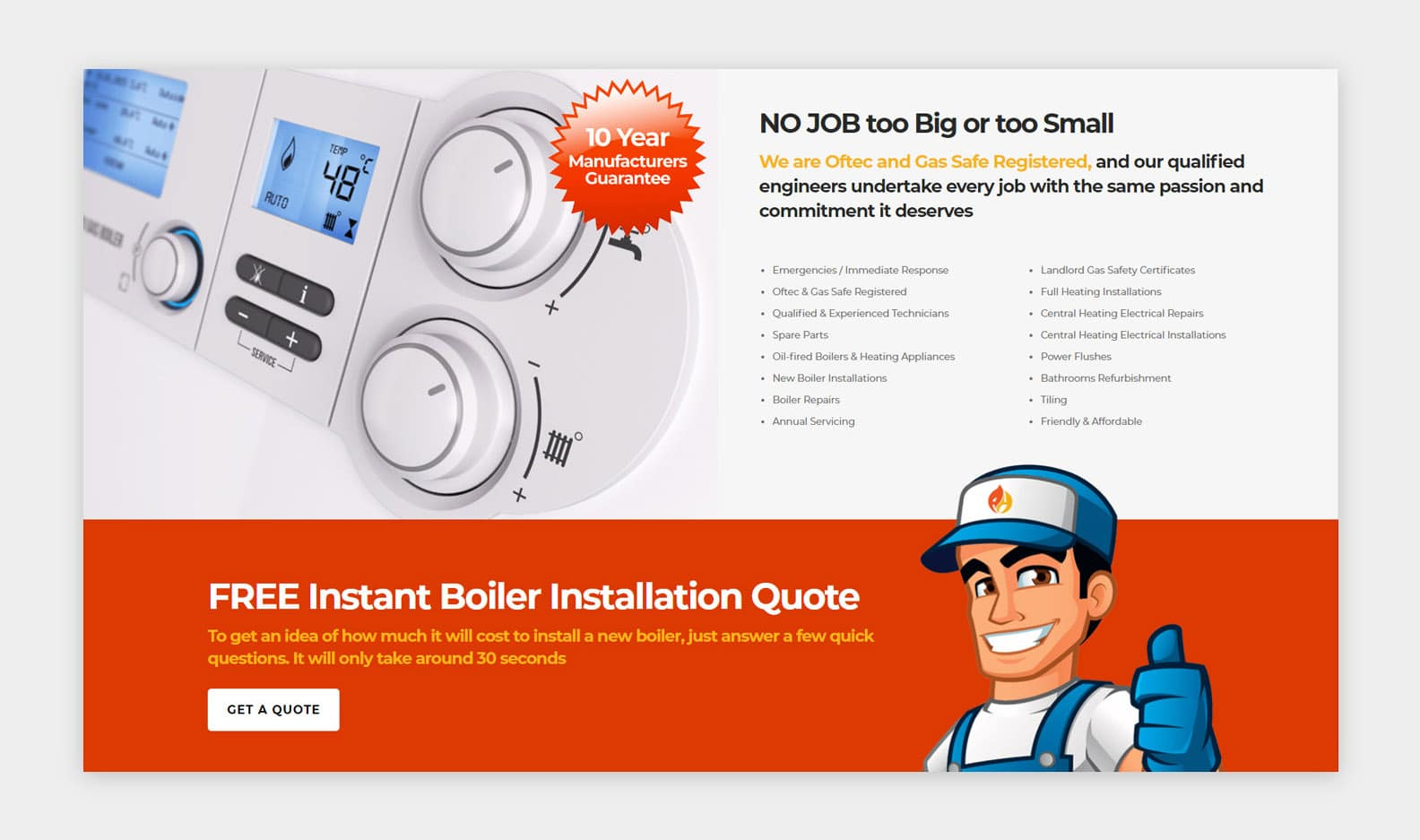 Abbey Heating - Bold and Colourful Web Design