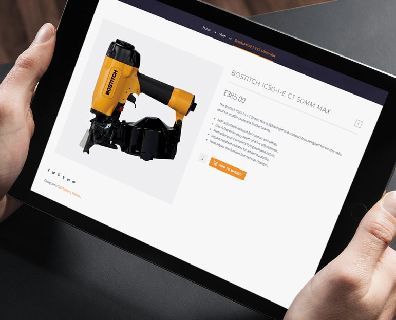 Advanced Fasteners Single Product Page Display - iPad
