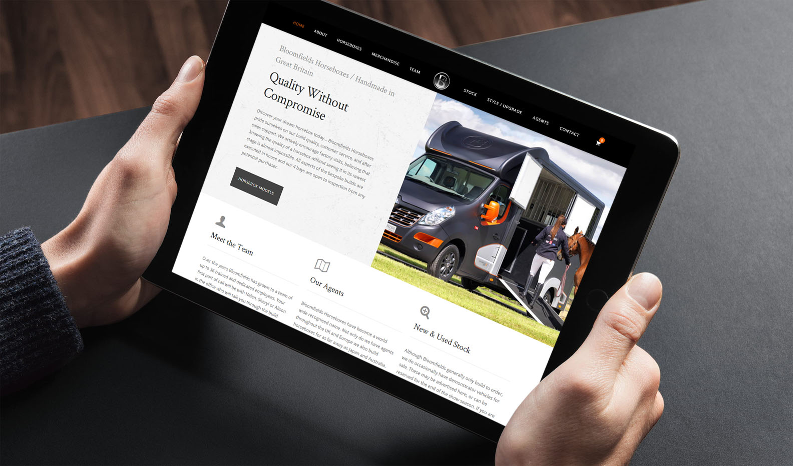 Bloomfields Horseboxes Website - iPad