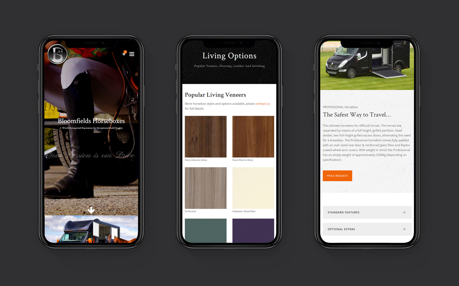 Responsive Web Design for Bloomfields Horseboxes - iPhone Screens