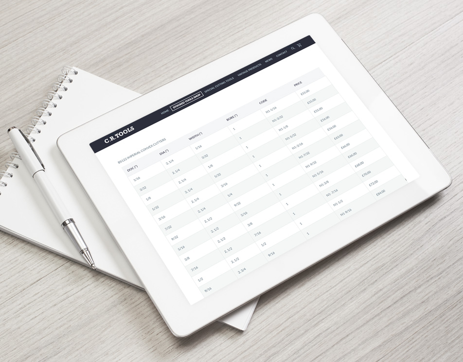 Product Table Data Displaying Sizes and Weights