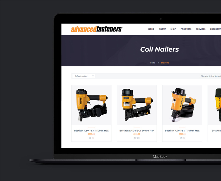 Advanced Fasteners eCommerce Website Design