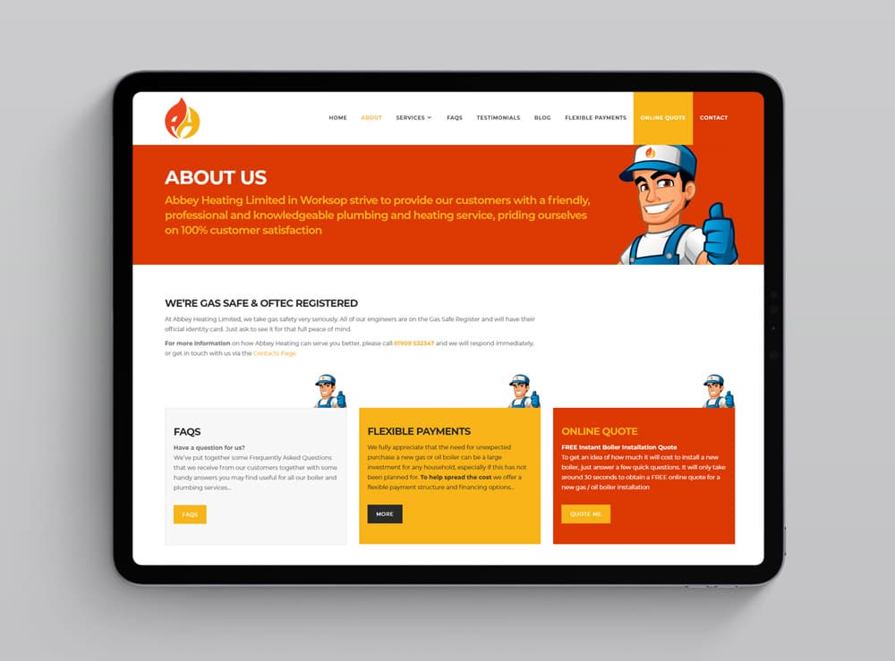 Web Design Project for Abbey Heating