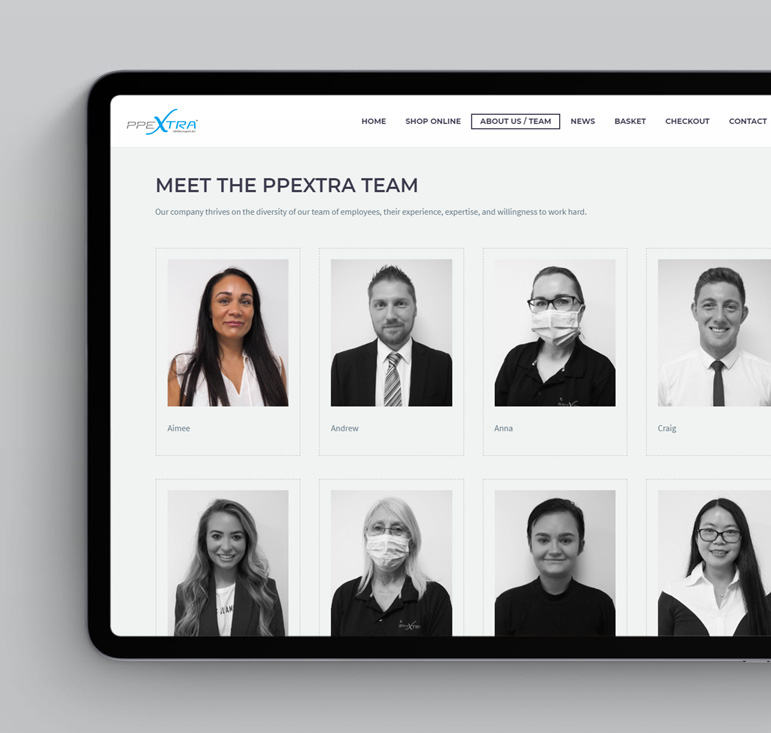 PPEXtra Web design project - meet the team page